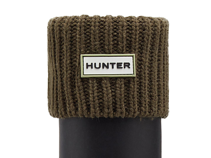 Hunter Boot Sock Ribbed Dark Olive