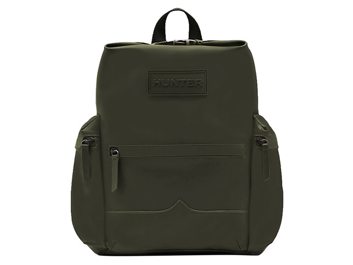 Hunter Top Clip Backpack Rubberised Leather Dark Olive