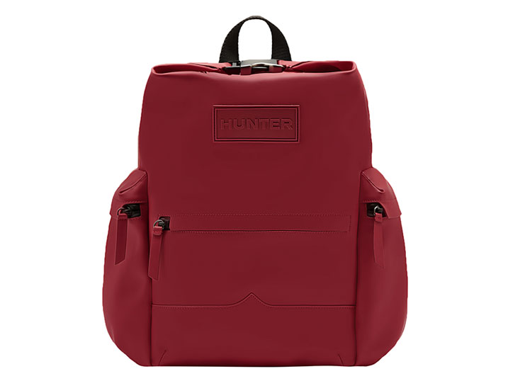 Hunter Backpack Rubberised Leather Military Red