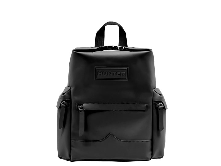Hunter Top Clip Backpack Rubberised Leather Black Mini
