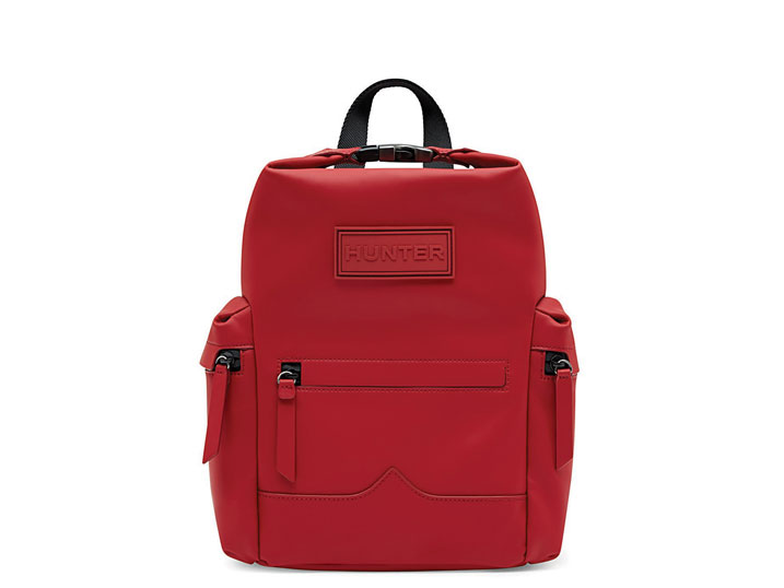 Hunter Mini Backpack Rubberised Leather Military Red